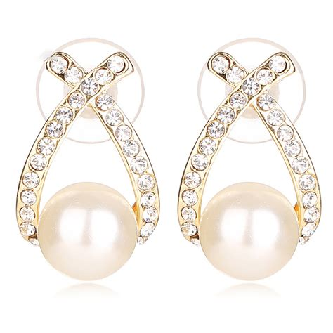 Rhinestone Pearl Earring simulated silver pearl earrings bridal 18k gold
