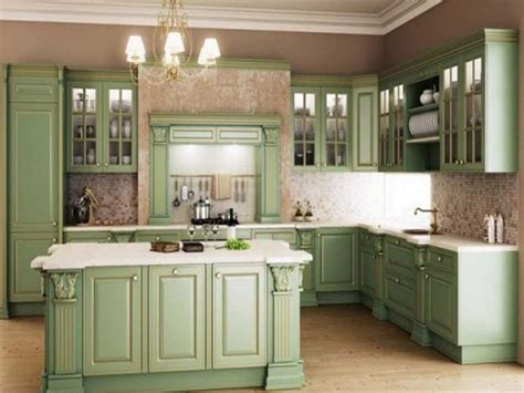 Vintage Boho Home Decor by Interior Green Wood Cabinets With Colonial White Granite