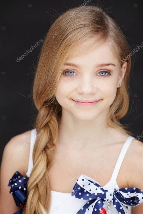 beautiful videos beautiful little girl with long hair stock photo