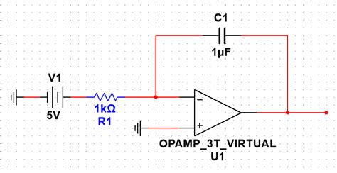 op op integrator circuit why is there a linear current and voltage for a time