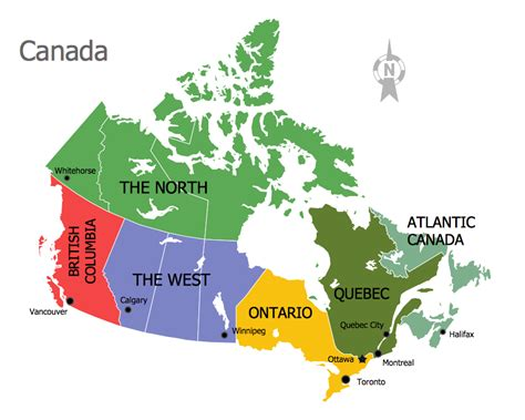 canadian map regions continent map