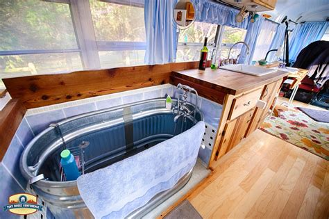 Rv Bathroom Remodeling Ideas just right bus living with a water trough bathtub