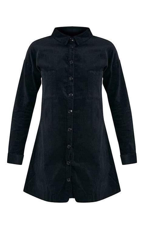 Corduroy Shirt Dress tiyra black corduroy shirt dress dresses prettylittlething