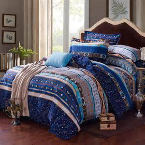 unique bedding blue white and yellow stripe and bohemian tribal