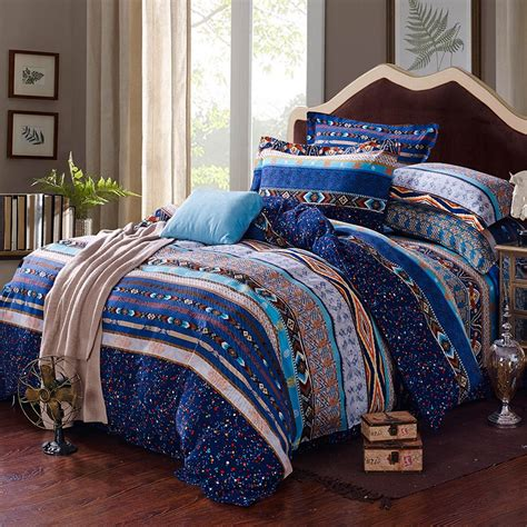blue bohemian bedding egyptian blue white and yellow stripe and bohemian tribal