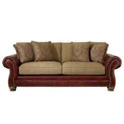 Bassett Chesterfield Sofa Brown Leather Sofa With Fabric Cushions Rooms