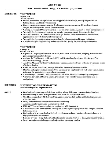 test analyst resume sles velvet test analyst resume sles velvet