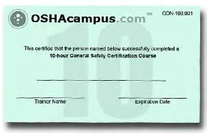 Osha 10 Card Template by Osha 10 Hour Card