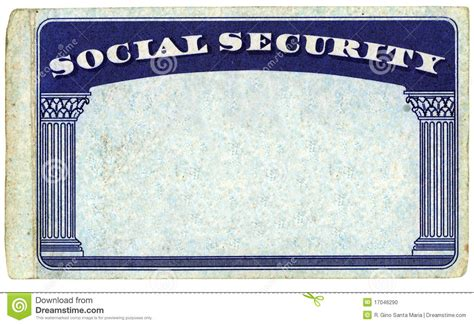 social security template blank american social security card stock photo image