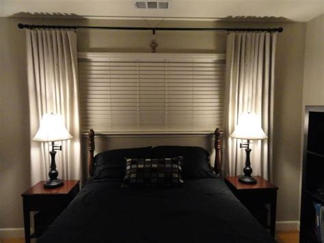 curtains for short wide windows window treatment idea for short wide window above the bed