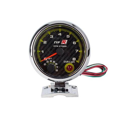 Takometer Tachometer Rpm Meter Shift Light 3 3 4 quot car 80mm carbon fibre tachometer rpm meter