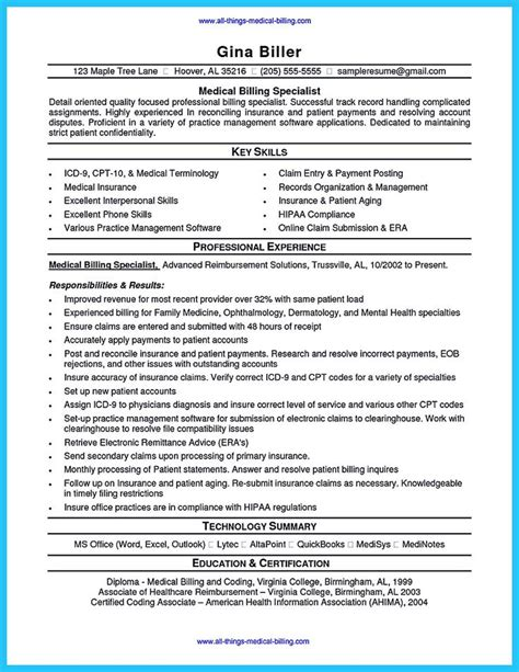 coding resume sles sle resume of a biller and coder