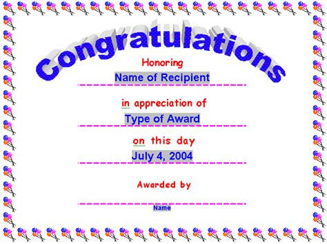 Congratulations Certificate Word Template by Award Certificates Award Certificate Gift Certificate