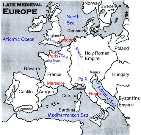 Europe 1500 Outline Map by Late Europe Map Labeled