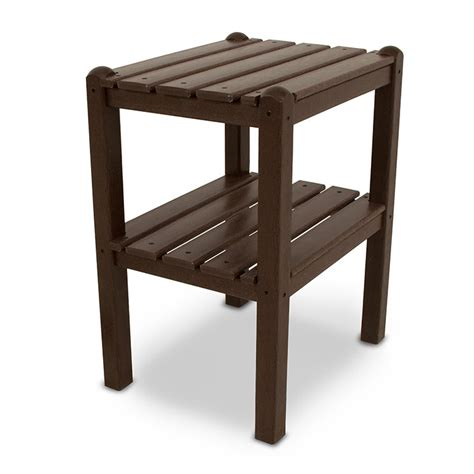 polywood outdoor small side or end table with shelf