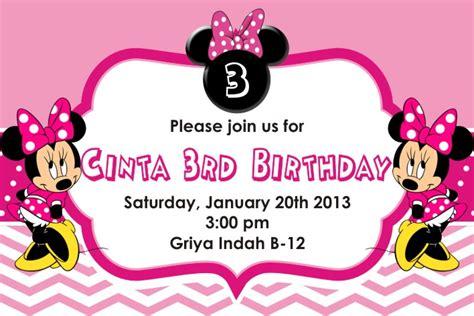Undangan Ulang Tahun Birthday Invitation Minnie Mouse backdrop ultah undangan mug stiker dll undangan ultah minni mouse