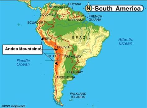 south america map andes geography chile