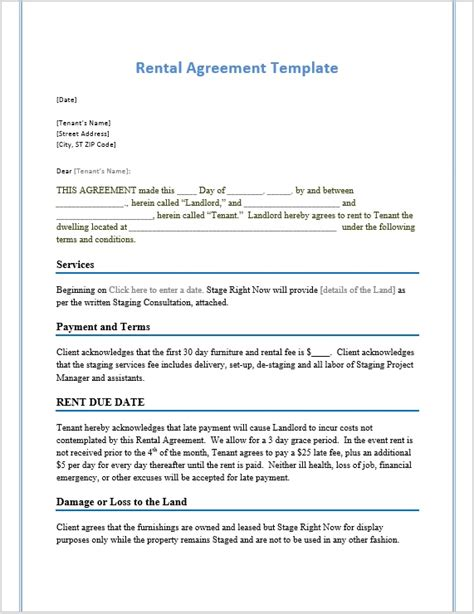 rental agreement template word templates