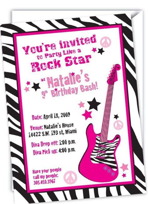 rock star zebra invitations  daughters  birthday