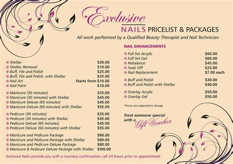 salon price list template nail salon price list template exclusive nails thornlie