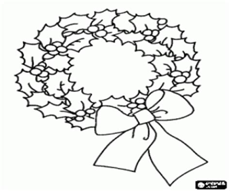 holly wreath coloring page christmas wreaths and garlands coloring pages printable games