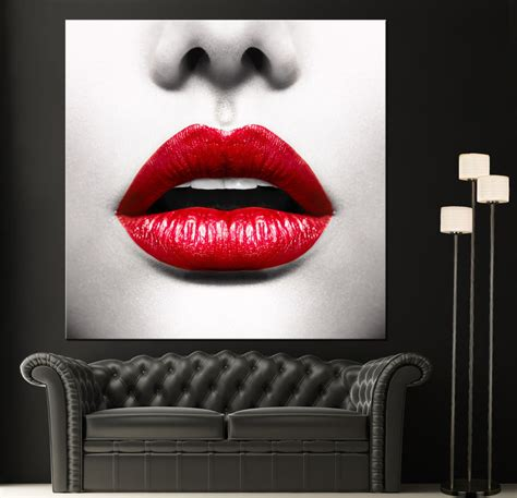 home decor art prints red lips modern canvas home fine wall art photo prints