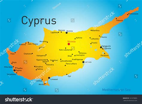 cyprus map vector vector map cyprus country stock vector 161670869