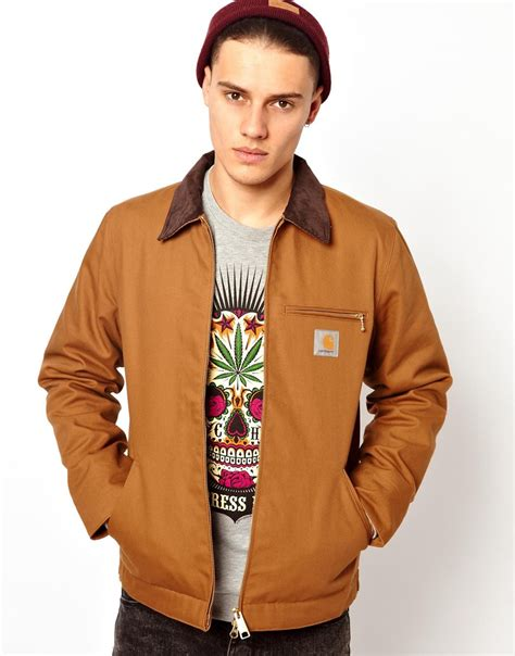 Sweater Carhart Roffico Cloth asos carhartt jacket detroit zip front in brown for lyst