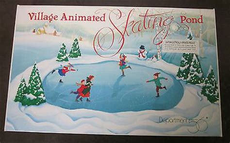 dept 56 village animated skating pond electric ice rink