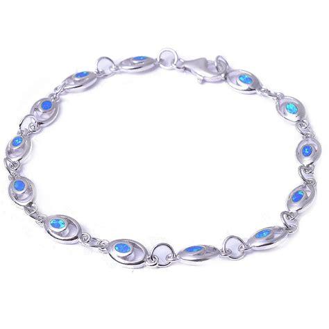 blue opal 925 sterling silver bracelet 8 quot ebay