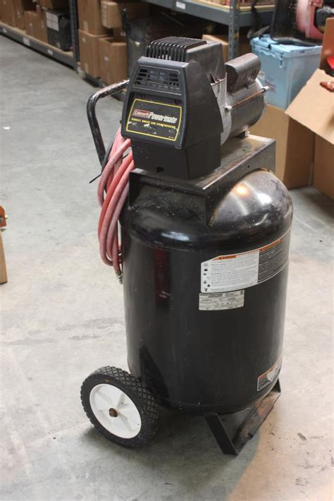 coleman powermate black max direct drive air compressor model bl0502710 property room