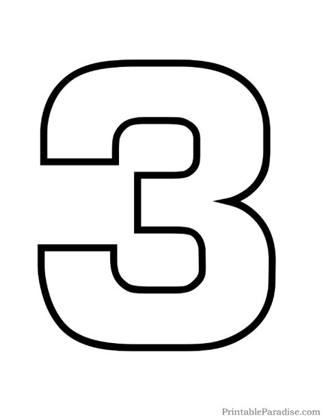 number 3 template printable number 3 outline print number 3