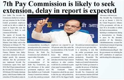 7th pay news 7th pay commission is likely to seek extension delay in