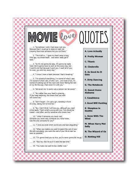 movie love quote match game printable boho bridal shower printable bridal shower games