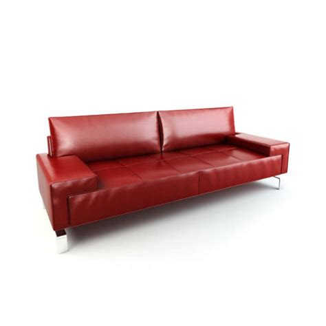 sofa with legs red leather sofa with metal legs 3d model cgtrader com