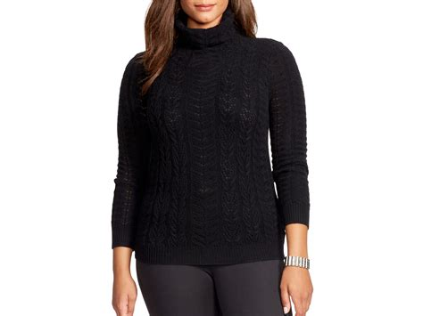 cable knit turtleneck sweater lyst pink pony plus cable knit turtleneck sweater