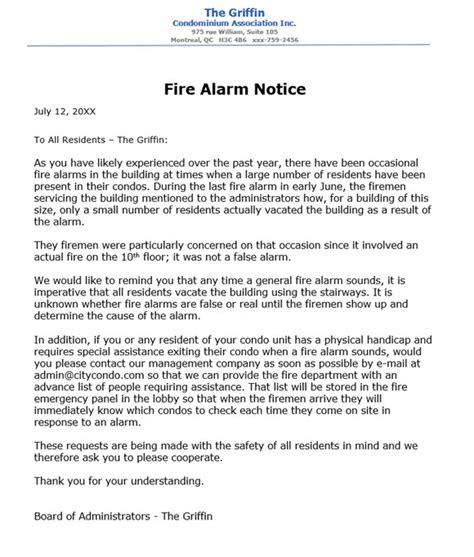 Condo Association Notice To Residents Re Fire Alarm Procedures Alarm Testing Notice Template