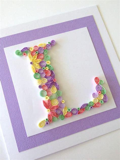 Handmade L - alphabet letter handmade quilled card any letter
