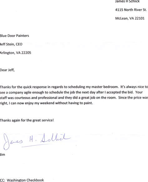 Thank You Letter For Recommendation Testimonials Blue Door Painters
