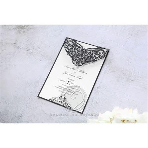 Black Elegance Wrpcc Laser Cut formal black laser cut lace invitation for modern ceremonies