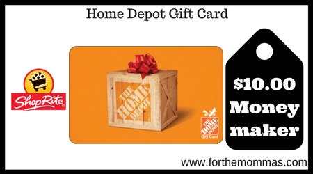 home depot printable gift certificates shoprite gift card deal 10 00 moneymaker starting 4 15