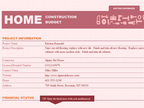Kitchen Planner Free home construction fund and budget template for microsoft excel