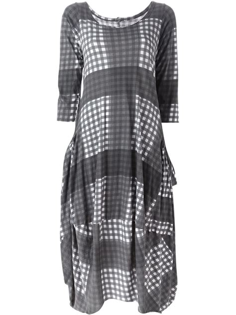 draped shirt pattern rundholz draped check pattern dress in gray lyst