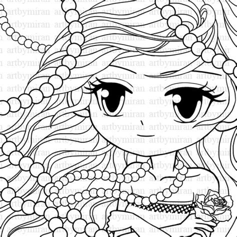 digi st pearl big eyed girl coloring page pretty by