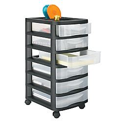 6 Drawer Plastic Storage Cart by Office Depot Brand Medium Plastic Storage Cart 6 Drawers