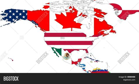 north america map with flags north america map flags image photo bigstock