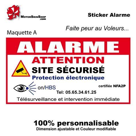 sticker alarme autocollant alarme
