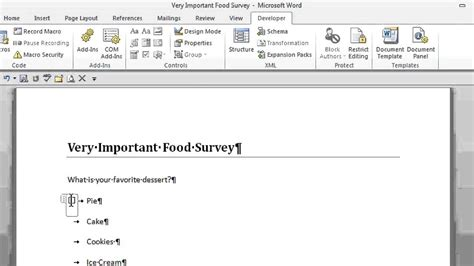 Create A Questionnaire - how to create a survey with radio buttons in microsoft word office software help