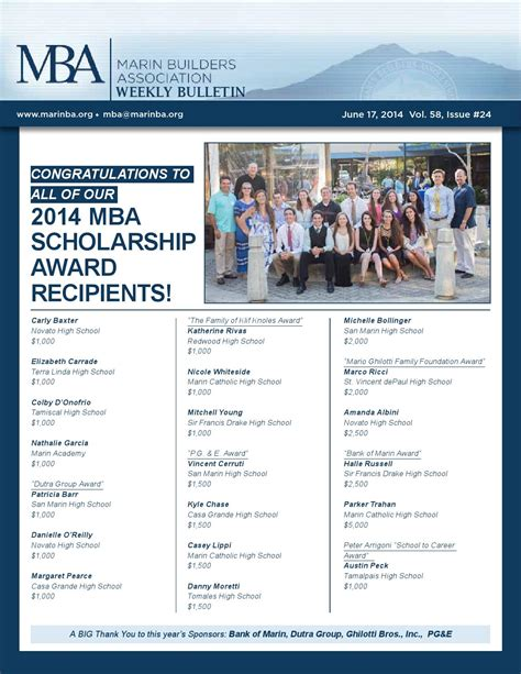 Family Foundation Mba Fellowship by Mba Weekly Bulletin Vol 58 Issue 24 By Marin Builders