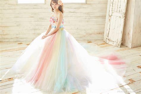 soft pastel rainbow gown  tunoah wedding